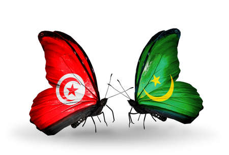 Two butterflies with flags on wings as symbol of relations Tunisia and Mauritania photo