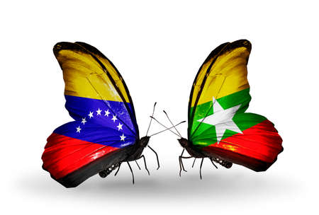 Two butterflies with flags on wings as symbol of relations Venezuela and Myanmar photo