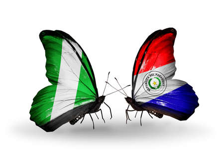Two butterflies with flags on wings as symbol of relations Nigeria and Paraguay photo