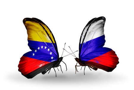 Two butterflies with flags on wings as symbol of relations Venezuela and Russia photo