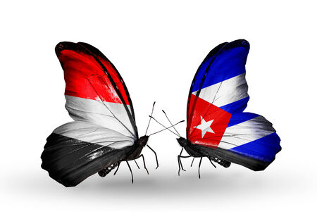 Two butterflies with flags on wings as symbol of relations   Yemen and  Cuba