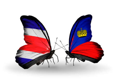 Two butterflies with flags on wings as symbol of relations Costa Rica and Liechtenstein photo