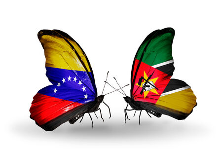 Two butterflies with flags on wings as symbol of relations Venezuela and Mozambique photo