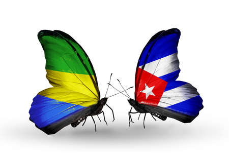 Two butterflies with flags on wings as symbol of relations Gabon and Cuba
