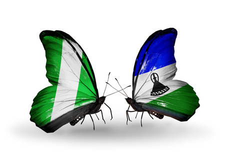 Two butterflies with flags on wings as symbol of relations Nigeria and  Lesotho photo