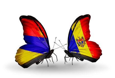 Two butterflies with flags on wings as symbol of relations Armenia and  Moldova photo