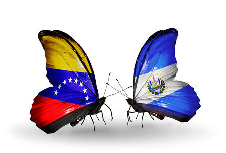 Two butterflies with flags on wings as symbol of relations Venezuela and Salvador photo