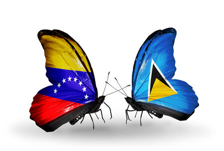 Two butterflies with flags on wings as symbol of relations Venezuela and Saint Lucia photo
