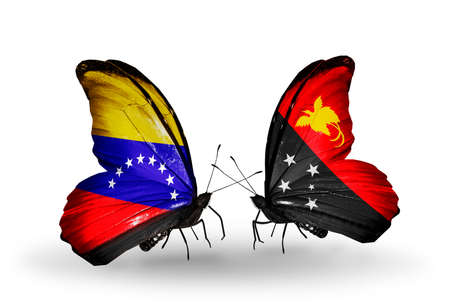 Two butterflies with flags on wings as symbol of relations Venezuela and Papua New Guinea photo