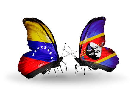 Two butterflies with flags on wings as symbol of relations Venezuela and Swaziland photo