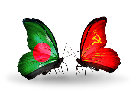 soviet union: Two butterflies with flags on wings as symbol of relations Bangladesh and Soviet Union