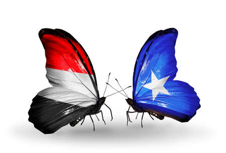 Two butterflies with flags on wings as symbol of relations   Yemen and Somalia photo