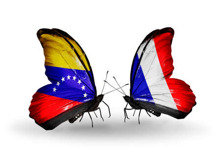 Two butterflies with flags on wings as symbol of relations Venezuela and France photo
