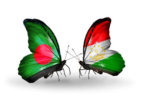 economy of tajikistan: Two butterflies with flags on wings as symbol of relations Bangladesh and Tajikistan