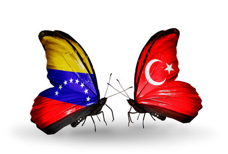 Two butterflies with flags on wings as symbol of relations Venezuela and Turkey photo
