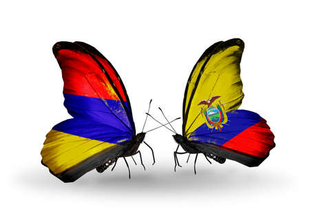 Two butterflies with flags on wings as symbol of relations Armenia and  Ecuador photo