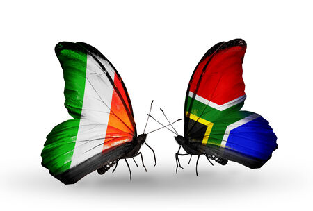Two butterflies with flags on wings as symbol of relations Ireland and  South Africa photo