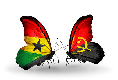 Two butterflies with flags on wings as symbol of relations Ghana and Angola photo
