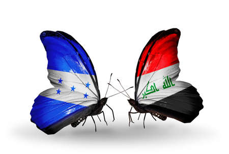 iraq money: Two butterflies with flags on wings as symbol of relations Honduras and  Iraq