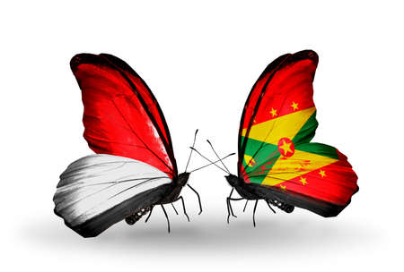 Two butterflies with flags on wings as symbol of relations Monaco, Indonesia and Grenada photo