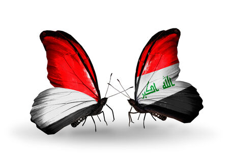 iraq money: Two butterflies with flags on wings as symbol of relations Monaco, Indonesia and Iraq
