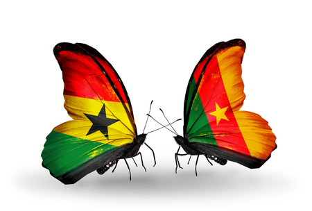 Two butterflies with flags on wings as symbol of relations Ghana and Cameroon photo