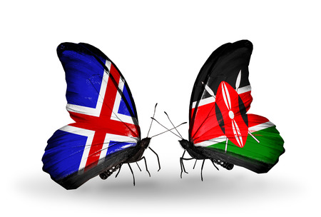 Two butterflies with flags on wings as symbol of relations   Iceland and Kenya photo