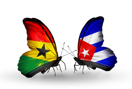 Two butterflies with flags on wings as symbol of relations Ghana and Cuba