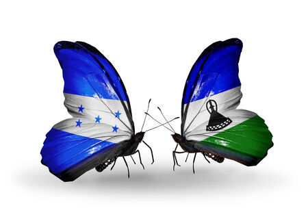 Two butterflies with flags on wings as symbol of relations Honduras and  Lesotho photo