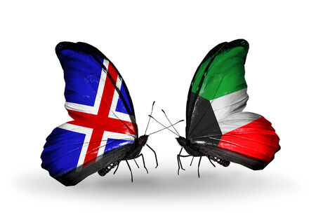 Two butterflies with flags on wings as symbol of relations   Iceland and Kuwait photo