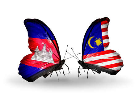 Two butterflies with flags on wings as symbol of relations  Cambodia and  Malaysia photo