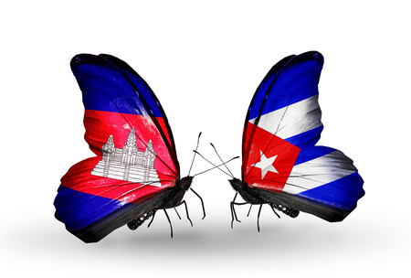 Two butterflies with flags on wings as symbol of relations  Cambodia and  Cuba