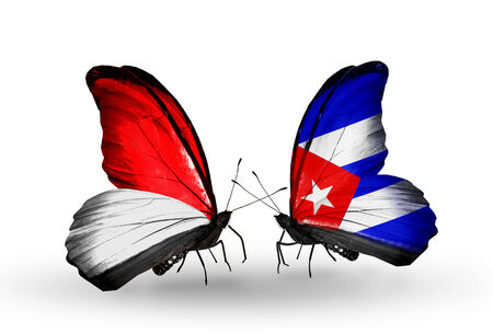 Two butterflies with flags on wings as symbol of relations Monaco, Indonesia and Cuba Stock Photo