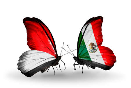 Two butterflies with flags on wings as symbol of relations Monaco, Indonesia and Mexico photo