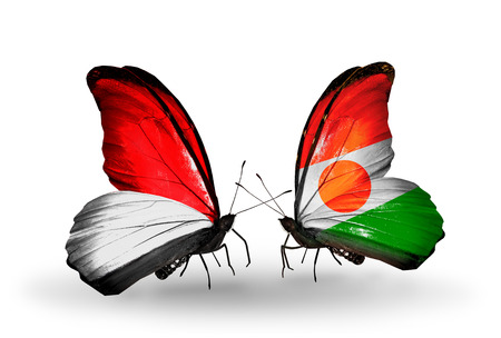 Two butterflies with flags on wings as symbol of relations Monaco, Indonesia and Niger photo