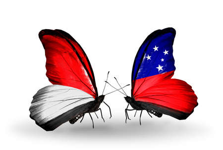 Two butterflies with flags on wings as symbol of relations Monaco, Indonesia and  Samoa photo