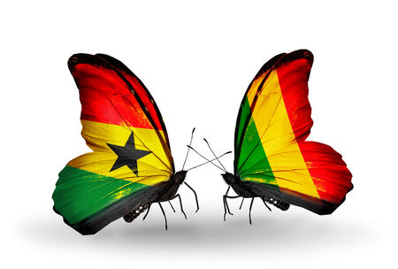Two butterflies with flags on wings as symbol of relations Ghana and  Mali photo