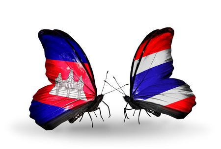 Two butterflies with flags on wings as symbol of relations  Cambodia and  Thailand