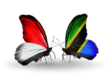 Two butterflies with flags on wings as symbol of relations Monaco, Indonesia and Tanzania photo