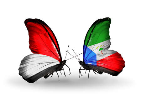 Two butterflies with flags on wings as symbol of relations Monaco, Indonesia and Equatorial Guinea photo