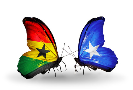 Two butterflies with flags on wings as symbol of relations Ghana and  Somalia photo
