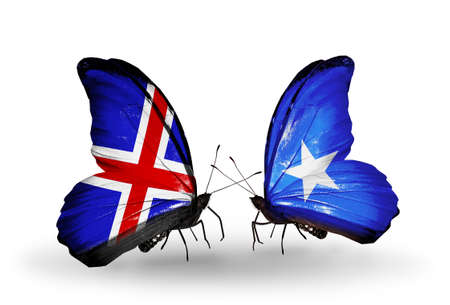 Two butterflies with flags on wings as symbol of relations   Iceland and Somalia photo
