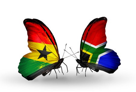 Two butterflies with flags on wings as symbol of relations Ghana and South Africa photo