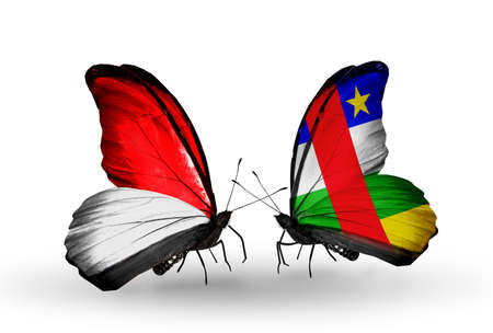 Two butterflies with flags on wings as symbol of relations Monaco, Indonesia and Central African Republic photo