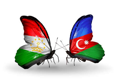 economy of tajikistan: Two butterflies with flags on wings as symbol of relations Tajikistan and Azerbaijan