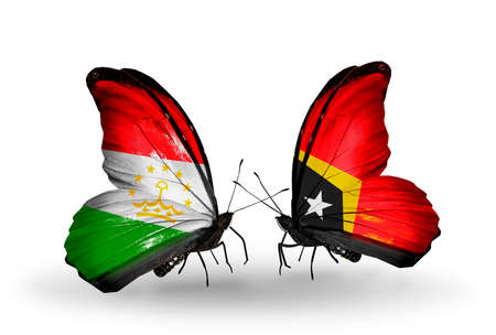 economy of tajikistan: Two butterflies with flags on wings as symbol of relations Tajikistan and East Timor Stock Photo