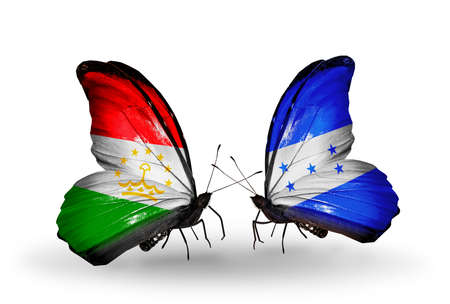 economy of tajikistan: Two butterflies with flags on wings as symbol of relations Tajikistan and Honduras Stock Photo