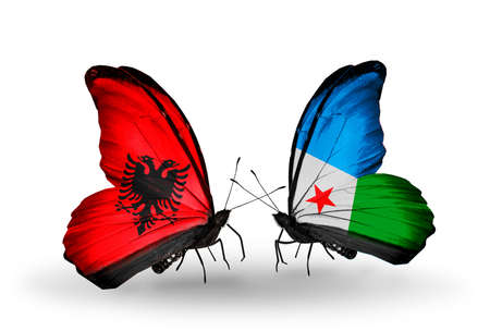 Two butterflies with flags on wings as symbol of relations Albania and Djibouti photo