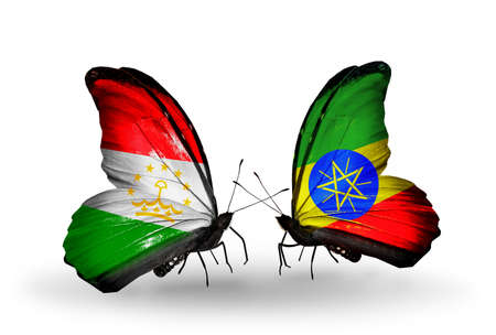 economy of tajikistan: Two butterflies with flags on wings as symbol of relations Tajikistan and Ethiopia Stock Photo