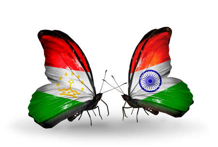 economy of tajikistan: Two butterflies with flags on wings as symbol of relations Tajikistan and  India